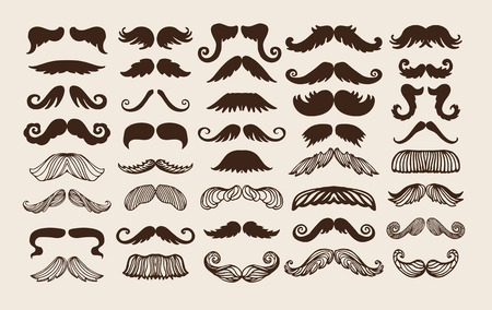 black head and moustache: Black silhouette mustache. Mustache brown hair and man mustache hipster set. Mustache retro curly black silhouette collection beard mustache. Mustache barber silhouette hairstyle Illustration