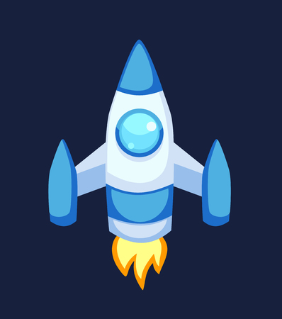 spacecraft: Rocket set vector and technology space ship rocket cartoon icons. Science future travel rocket and shuttle fly rocket. Speed galaxy fantasy rocket and futuristic spacecraft, astronaut modern element.