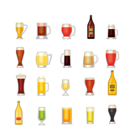 intoxicating: Beer bottle, glass and different types of beer label. Alcohol drinks cups vector icons isolated. Oktoberfest beer light and dark drink vector cups mugs Illustration