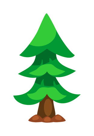 firtree: Christmas tree isolated. New Year tree vector illustration. Wild spruce silhouette. Green spruce fir-tree isolated on white. Green forest pine tree