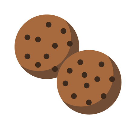 homemade bread: Gingerbread cookie isolated on a white background. Chocolate chip cookie on white. Sweet cookie sweet food. Gingerbread cookie traditional biscuit. Gingerbread cookie round dessert Illustration