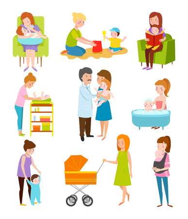 motherhood: Young mother vector characters.and young mother happy parent. Young mother vector set. Togetherness newborn face young mother lifestyle cheerful motherhood. Young family portrait