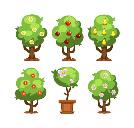 Flat nature plants green ecology flat plants and tree. Summer green tree elements nature. Beautiful garden plants set of flat elements grass, plants, bushes and trees vector illustration Illustration