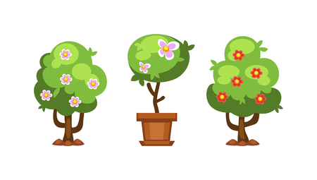elements of nature: Flat nature plants green ecology flat plants and tree. Summer green tree elements nature. Beautiful garden plants set of flat elements grass, plants, bushes and trees vector illustration Illustration