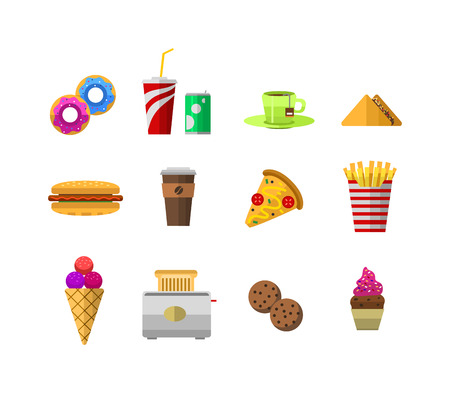 chine: Vector food icons, sweet fast food elements. Food icons restaurant menu isolated. Cake design food icons kitchen beverage dinner and sweet dessert chine rolls. Different fast food icons Illustration