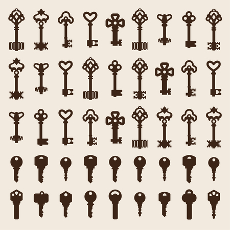 safe house: Vintage key antique door key isolated on white background. Access household vintage key. Retro door metal security vintage key and vintage key safe house decorative. Decorative key silhouette
