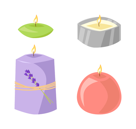 spa still life: Aroma candle isolated spa aromatherapy aroma candle and relaxation aroma candle. Beauty flame relax care aroma candle. Decoration health therapy aroma candle treatment bath natural care Illustration