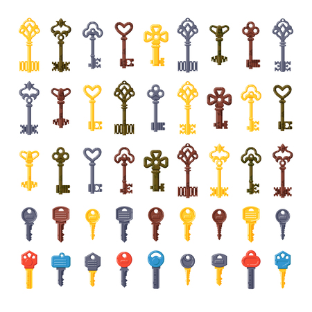 safe house: Vintage key antique door key set isolated on white background. Access household vintage key. Retro door metal security vintage key and vintage key safe house decorative. Decorative key silhouette