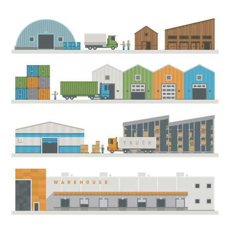 warehouse cargo: Large warehouse preparing goods for dispatch industry and warehouse cargo transport shipping package buildings. Warehouse buildings industry flat vector