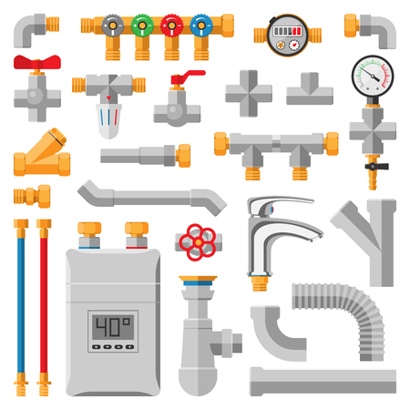Details pipes different types collection. Vector set of pipes water tube industry, gas valve construction. Oil industrial pressure technology plumbing pipes. Steel factory engineering Illustration