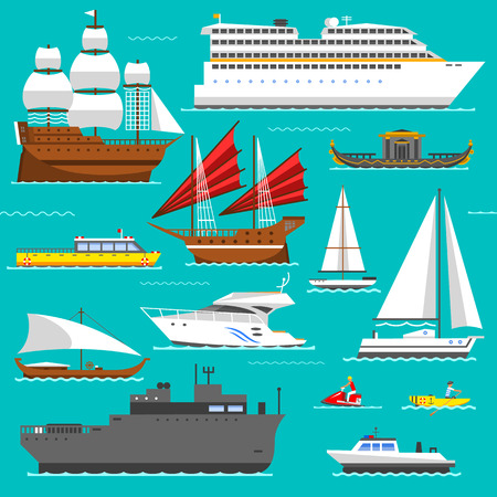 the hovercraft: Ship, boat vessel, warship and cargo ship, cruise ship. Yacht, wherry, hovercraft. Water ship transport sea boat set. Super set of water ships carriage maritime transport in modern flat design vector