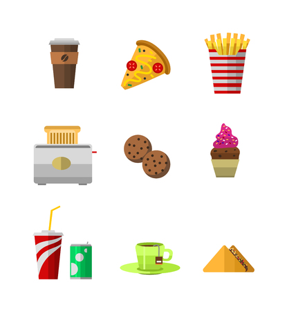 eclair: Vector food icons, sweet fast food elements. Food icons restaurant menu isolated. Cake design food icons kitchen beverage dinner and sweet dessert chine rolls. Different fast food icons Illustration