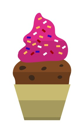 ice cream soft: Ice cream on wooden stick with pink icing and sprinkles vector. Soft serve ice cream isolated on white background. Ice cream sweet food