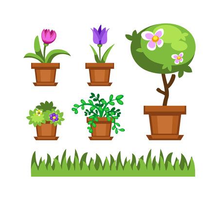 seasoned: Flat nature plants green ecology flat plants and tree. Summer green tree elements nature. Beautiful garden plants set of flat flowers elements grass, plants, bushes and trees vector illustration