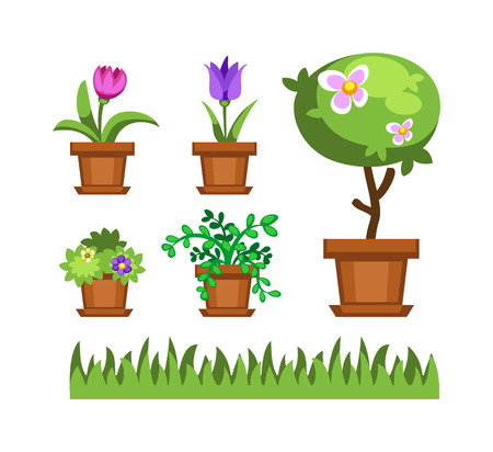 Flat nature plants green ecology flat plants and tree. Summer green tree elements nature. Beautiful garden plants set of flat flowers elements grass, plants, bushes and trees vector illustration