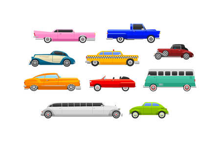 machine shop: Retro cars icons vintage vector. Classic transportation auto vehicle retro car. Retro car nostalgia automobile old design. Graphic emblem race engine machine shop antique wheels collection