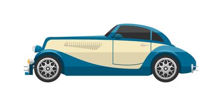icono del coche retro vector vendimia. Clásico vehículo de auto transporte de coches retro. Retro nostalgia automóvil coche viejo diseño. Gráfico emblema de la carrera del motor taller de máquinas de recogida ruedas antiguos