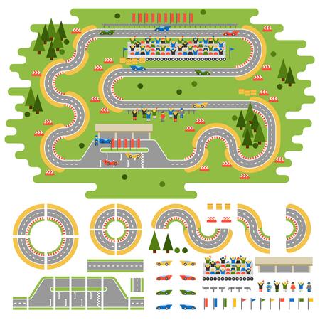 curve road: Race track curve road vector, car sport track. Top view of car sport track. Sport car track constructor, road symbols