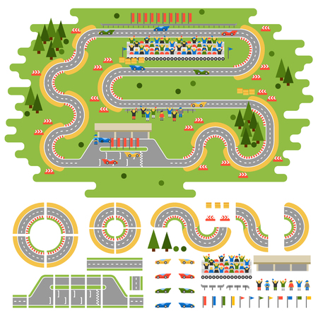 Race track curve road vector, car sport track. Top view of car sport track. Sport car track constructor, road symbols