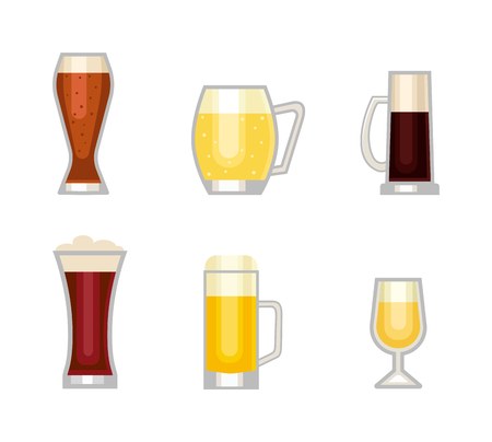 Beer bottle, glass and different types of beer label. Alcohol drinks cups vector icons isolated. Oktoberfest beer light and dark drink vector cups mugs Illustration