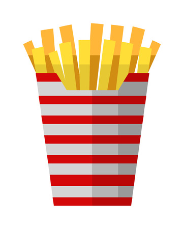 fried potatoes: Fried potatoes fries in paper wrapper on white background. Vector illustration fried potatoes unhealthy food cooked junk. Fast food fried yellow potatoes restaurant chip prepared salty gold