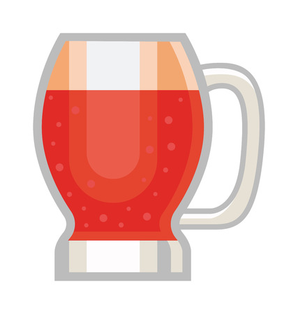 dark beer: Red beer glass isolated on white background. Dark beer cup alcohol alcohol drink. Beer cup mug liquid white foam and bubble cold drip refreshment Illustration