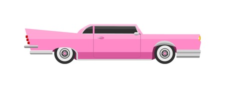 Retro pink car icon vintage vector. Classic transportation auto vehicle retro car. Retro car nostalgia automobile old design. Graphic emblem race engine machine shop antique wheels pink car