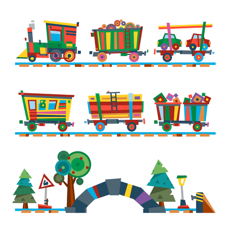 steward: Railroad traffic way and cartoon toy train. Toy train, railroad train transportation. Railway design concept set with train station steward railroad passenger toy train flat icons vector illustration.