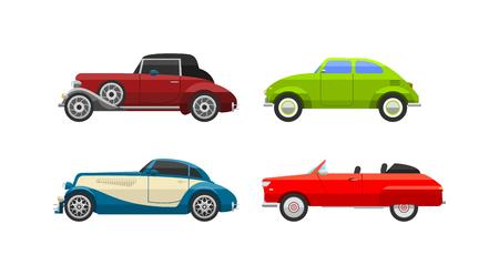 car wheels: Retro cars icons vintage vector. Classic transportation auto vehicle retro car. Retro car nostalgia automobile old design. Graphic emblem race engine machine shop antique wheels collection