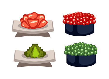 sushi roll: Sushi rolls icons food and japanese seafood sushi rolls. Sushi rolls traditional seaweed fresh raw food. Asia cuisine restaurant delicious. Sushi roll chine or japan selective food vector.