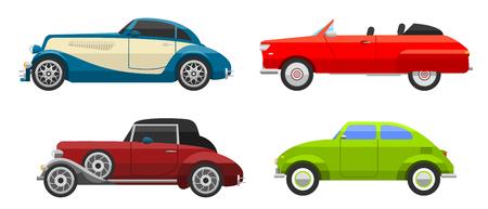 antique car: Retro cars icons vintage vector. Classic transportation auto vehicle retro car. Retro car nostalgia automobile old design. Graphic emblem race engine machine shop antique wheels collection