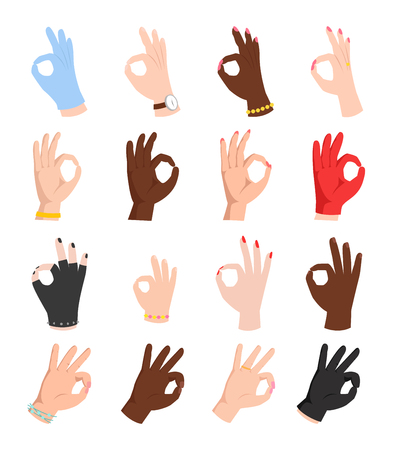 okey: Ok hands success gesture and okey hands yes agreement. Illustration
