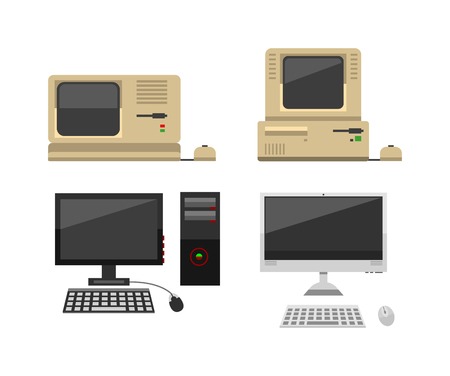 old pc: Computer technology vector evolution isolated display. Telecommunication equipment old computer pc monitor frame modern office network. Old computer device electronic black equipment space.