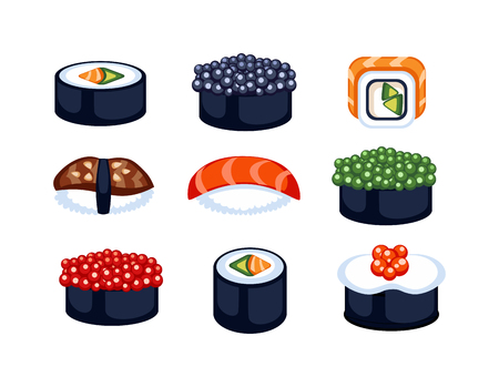 raw food: Sushi rolls icons food and japanese seafood sushi rolls. Sushi rolls traditional seaweed fresh raw food. Asia cuisine restaurant delicious. Sushi roll chine or japan selective food vector.