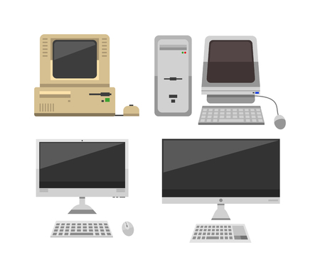 old office: Computer technology vector evolution isolated display. Telecommunication equipment old computer pc monitor frame modern office network. Old computer device electronic black equipment space.