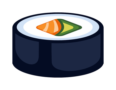 chine: Sushi rolls icons food and japanese seafood sushi rolls. Sushi rolls traditional seaweed fresh raw food. Asia cuisine restaurant delicious. Sushi roll chine or japan selective food vector.