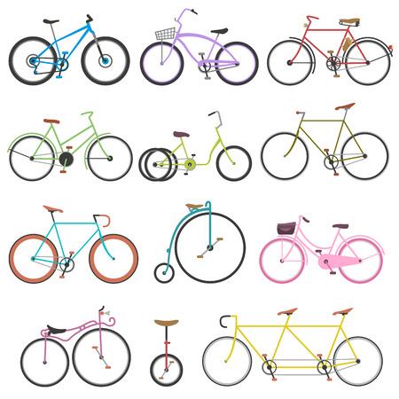 Vintage retro fiets set en stijl antieke sport old fashion vintage grunge fietsflat vector. Uitstekende fiets set rijden fiets vervoer plat vector illustratie. Flat fietsen, geïsoleerd fietsen
