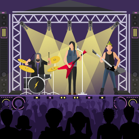 stage lights: Concert pop group artists on scene, music stage and night concert music stage vector. Young pop group concert crowd in front of bright music stage lights vector illustration. Pop artists group band