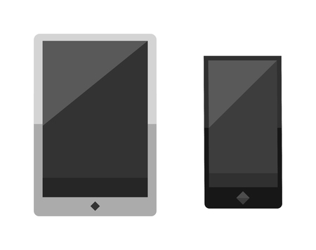 smartphone business: Tablet computer smartphone isolated screen isolated digital technology vector icon. Technology tablet smartphone computer and business tablet computer smartphone communication. Illustration
