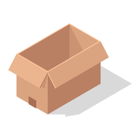 relocation: Move box service business vector illustration. Craft box isolated on white background. Box for moving, move business, relocation. Transportation package cargo service. Shopping delivery box Illustration