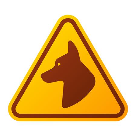 Attention danger icône bouton de chien et de l'attention signe d'avertissement. sécurité Attention symbole d'alarme. Danger chien avertissement signe attention avec les informations de symbole et l'icône de notification vecteur