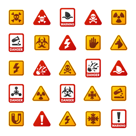 security alarm: Attention icons danger button and attention warning signs. Attention security alarm symbols. Danger warning attention sign with symbols information and notification icons vector