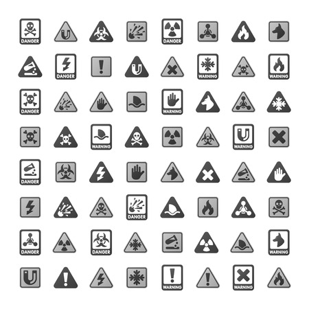 warning attention sign: Attention icons danger button and attention warning signs. Attention security alarm symbols. Danger warning attention sign with symbols information and notification icons vector
