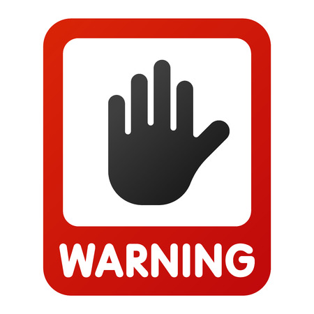 attention sign: Attention stop hand icon danger button and attention warning sign. Attention security alarm symbol. Danger warning attention sign with symbol information and notification icon vector