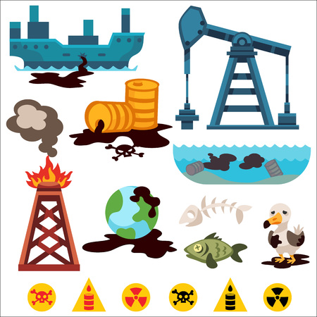 oil pollution: Ecological problems environmental pollution of water, earth, air, deforestation, destruction of animals vector. Mills factories forest environmental pollution. Environmental protection. Oil pollution