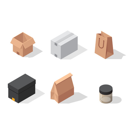 packaging move: Different box icons isolated on white background. Move service box icons. gift box container packaging. Shop bag box carton package paper, take out pack and food jar