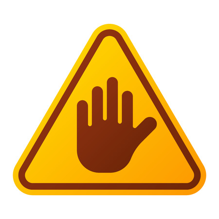 security alarm: Attention stop hand icon danger button and attention warning sign. Attention security alarm symbol. Danger warning attention sign with symbol information and notification icon Illustration