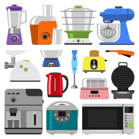electrodomésticos de cocina aparatos de cocina y equipo de cocina en casa. estableció hogar, electrodomésticos de cocina. Inicio electrónica de cocina elementos electrodomésticos infografía plantilla vector de concepto. Ilustración de vector