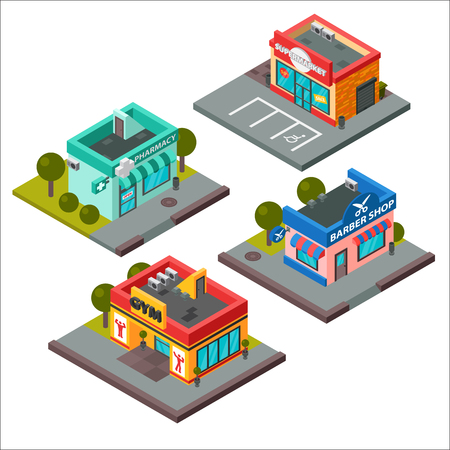 fitness center: Vector isometric buildings set isolated. Convenience store supermarket isometric building. Warehouse, beauty salon, fitness center isometric buildings design. Urban business construction design set.