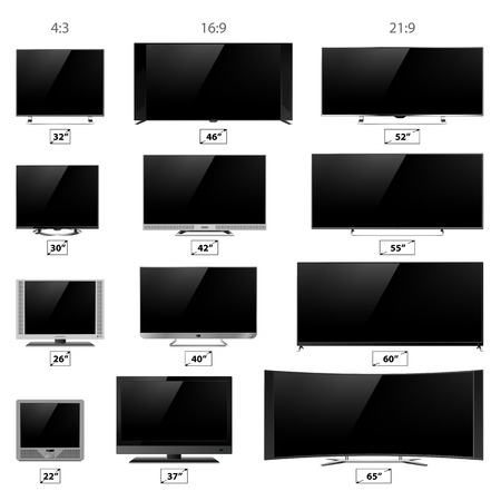 lcd display: TV screen lcd monitor and notebook, tablet computer, retro templates. Electronic devices TV screens infographic. Technology digital device TV screens size diagonal display vector illustration. Illustration